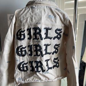 Forever 21 Plus Beige 'Girls' Jean Jacket 1X